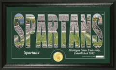 Michigan State Spartans Word Art Coin Photo Mint
