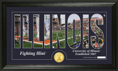 Illinois Fighting Illini Word Art and Coin Photo Mint