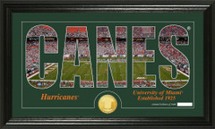 Miami Hurricanes Word Art and Coin Photo Mint