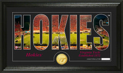 Virginia Tech Hokies Word Art and Coin Photo Mint