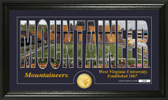 West Virginia Mountaineers Word Art and Coin Photo Mint