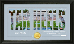 UNC Tar Heels Word Art and Coin Photo Mint