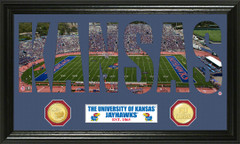 Kansas Jayhawks Word Art and Coin Photo Mint