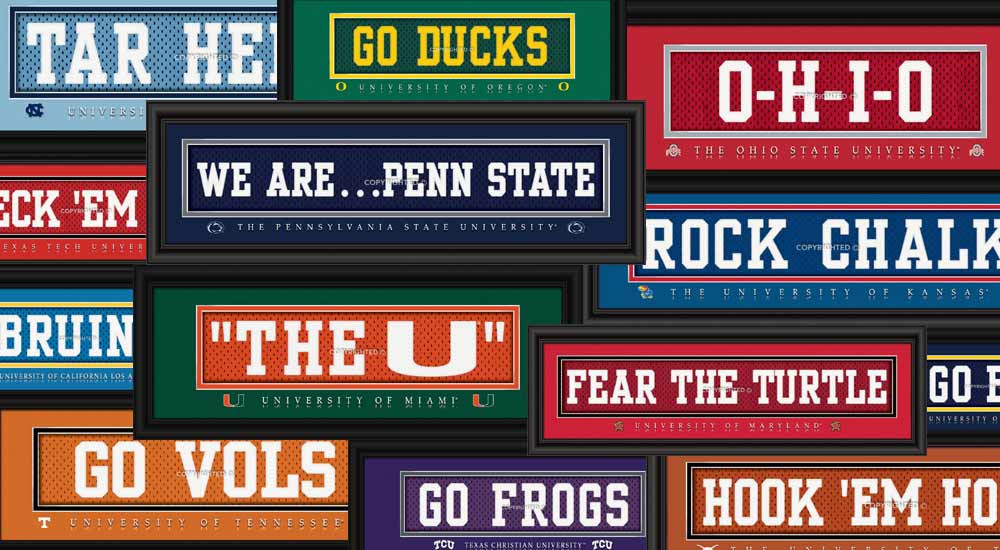 College Team Slogan Jersey Nameplate