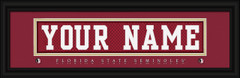 Florida State Seminoles Personalized Jersey Nameplate Framed Print