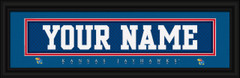 Kansas Jayhawks Personalized Jersey Nameplate Framed Print