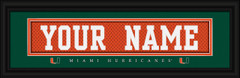 Miami Hurricanes Personalized Jersey Nameplate Framed Print