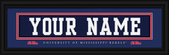 University Of Mississippi Rebels Personalized Jersey Nameplate Framed Print