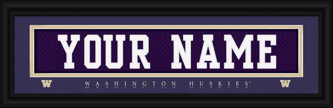 Washington Huskies Personalized Jersey Nameplate Framed Print