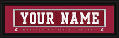 Washington State Cougars Personalized Jersey Nameplate Framed Print