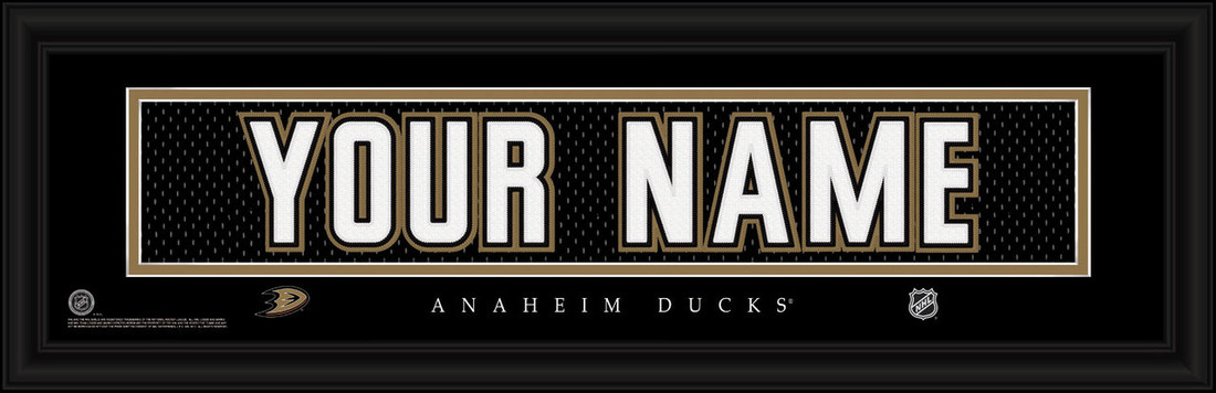 Anaheim Ducks Personalized Jersey Nameplate Framed Print