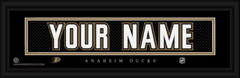 Anaheim Ducks Personalized Jersey Nameplate Framed Print
