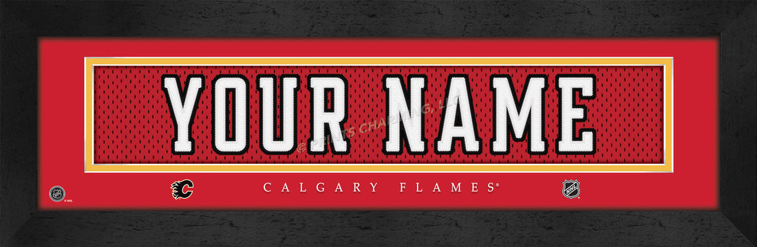 Calgary Flames Personalized Jersey Nameplate Framed Print