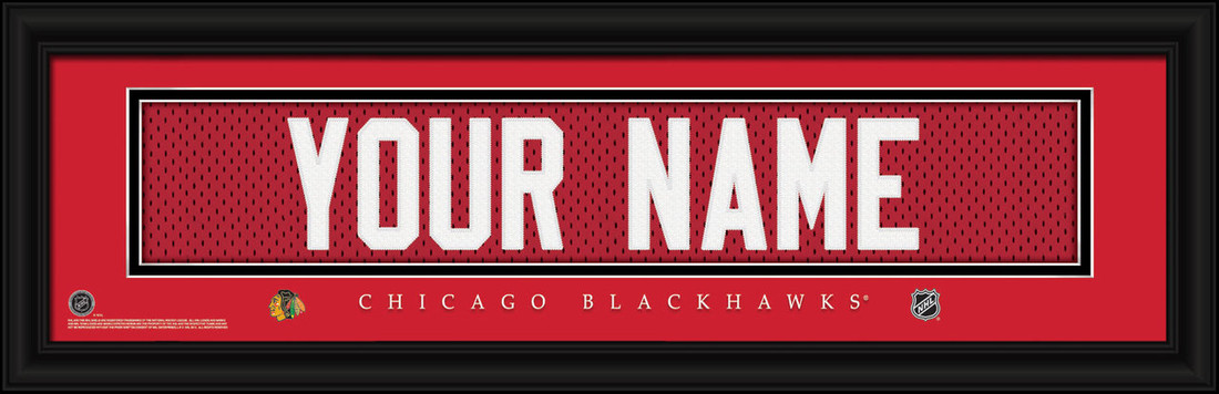 Chicago Blackhawks Personalized Jersey Nameplate Framed Print