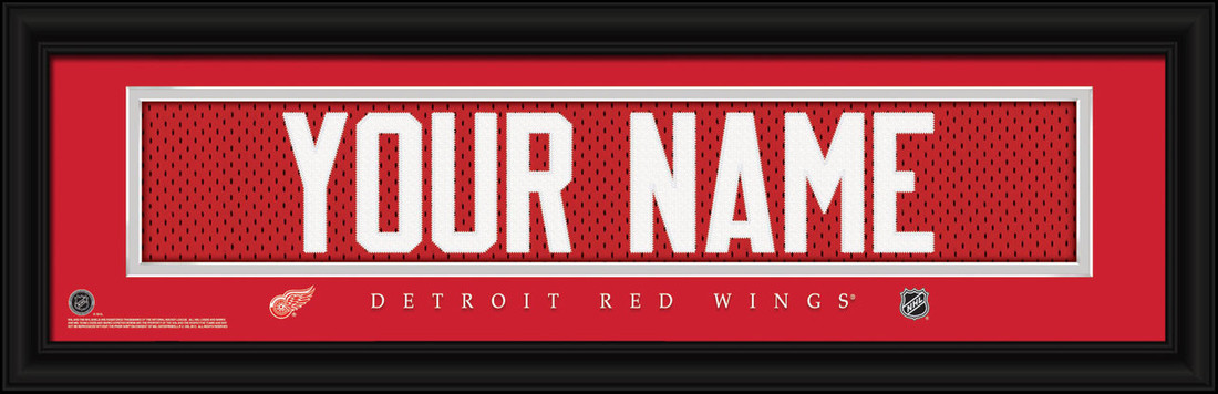 Detroit Red Wings Personalized Jersey Nameplate Framed Print