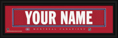 Montreal Canadiens Personalized Jersey Nameplate Framed Print