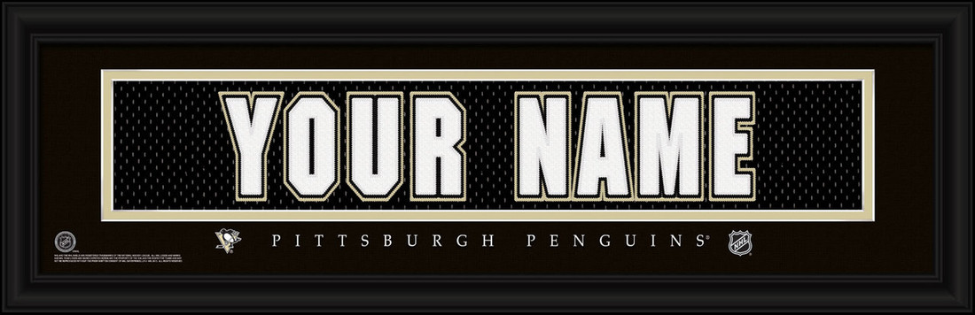 Pittsburgh Penguins Personalized Jersey Nameplate Framed Print