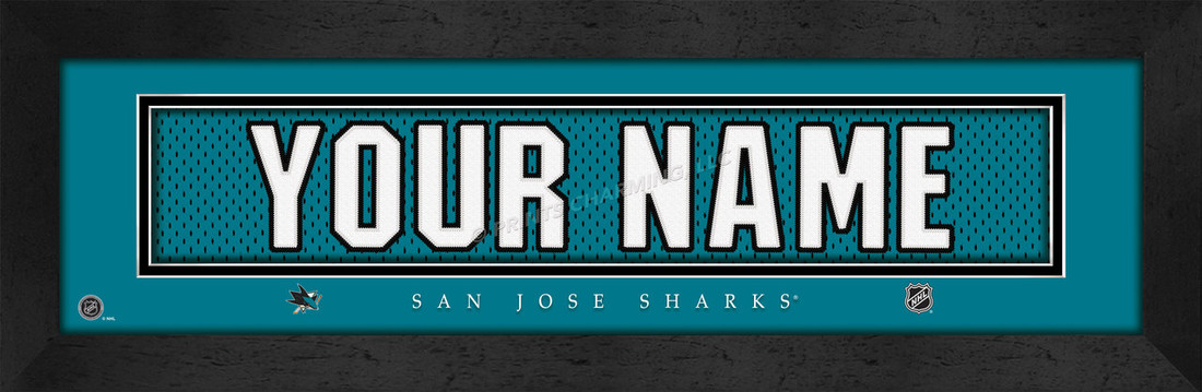 San Jose Sharks Personalized Jersey Nameplate Framed Print