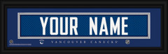 Vancouver Canucks Personalized Jersey Nameplate Framed Print