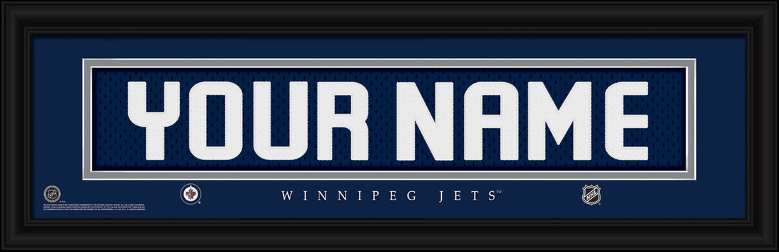 Winnipeg Jets Personalized Jersey Nameplate Framed Print