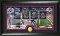 Patriots Four Super Bowl Banner Picture with Coin Photo Mint