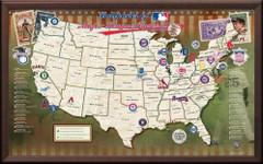 Ballparks of Major League Baseball Framed Map