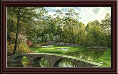 Augusta National Golden Bell 12th Hole Framed Canvas Art