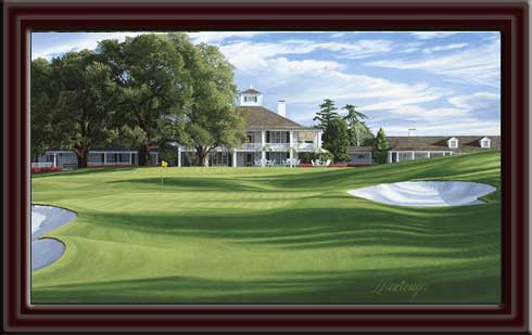Augusta National Clubhouse 18th Hole Framed Canvas Art