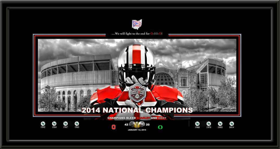 Ohio State Champions Bleed Scarlet And Gray Framed Print