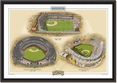 Cleveland Historic Ballparks of Baseball Framed Print