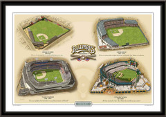 Detroit Historic Ballparks of Baseball Framed Print