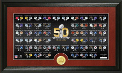 NFL Super Bowl 50th Anniversary Bronze Coin Pano Photo Mint