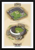 Kansas City Historic Ballparks of Baseball Framed Print