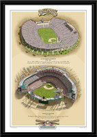 Los Angeles Historic Ballparks of Baseball Framed Print