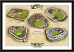 New York AL Historic Ballparks of Baseball Framed Print