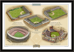 Philadelphia Historic Ballparks of Baseball Framed Print