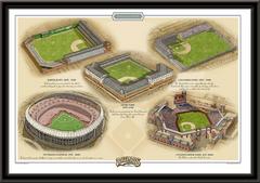 Philadelphia Historic Ballparks of Baseball Framed Print
