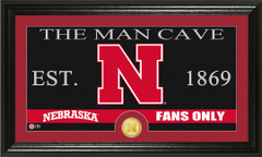 Nebraska Corn Huskers Man Cave Sign and Photo Mint