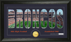 Denver Broncos Word Silhoutte Coin Photo Mint