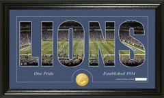Detroit Lions Word Silhoutte Coin Photo Mint