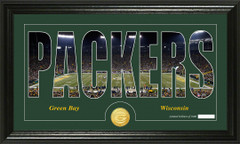 Green Bay Packers Word Silhoutte Coin Photo Mint