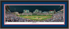 Wrigley Field Night Game Framed Panoramic Picture Double Mat