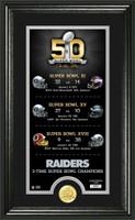 Oakland Raiders Super Bowl 50th Anniversary Bronze Coin Photo Mint