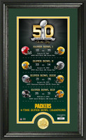 Green Bay Packers Super Bowl 50th Anniversary Bronze Coin Photo Mint