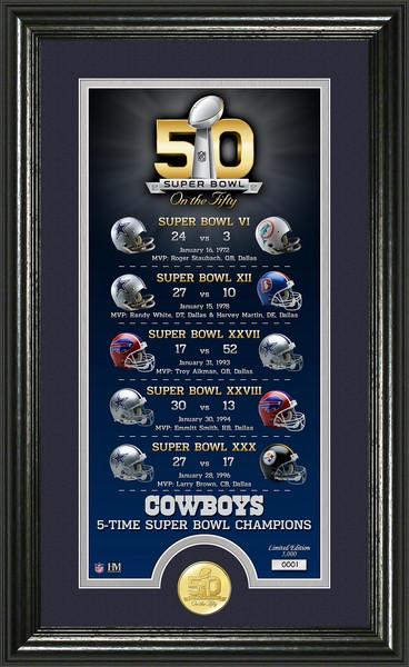 Dallas Cowboys Super Bowl 50th Anniversary Bronze Coin Photo Mint