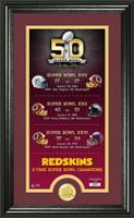 Washington Redskins Super Bowl 50th Anniversary Bronze Coin Photo Mint