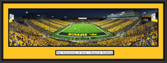 Kinnick Stadium Black and Gold Night Game Framed Picture
