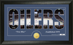 Edmonton Oilers Word Silhouette Coin Photo Mint