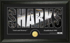 San Jose Sharks Word Silhouette Coin Photo Mint