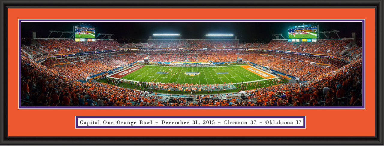 Clemson 2015 Sun Life Capital One Orange Bowl Framed Picture